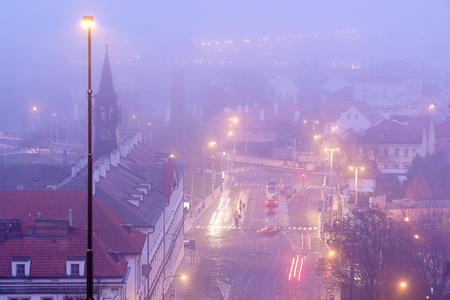Prague, Czechia - November, 21, 2016: panorama of a historical center of Prague, Czechia, in a fog