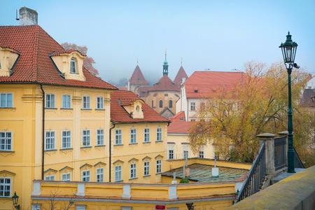 family unit: Prague, Czechia - November, 21, 2016: street in the historical part of Prague, Czechia