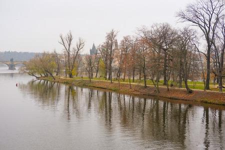 Panorama of an old Prague, bridges and embankment of Vitava river, Czechia Stock Photo
