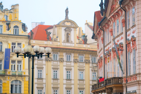 front elevation: Prague, Czechia - November, 21, 2016: front of a building on Old Town Square in Prague, Czechia