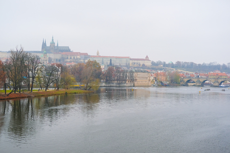 Panorama of an old Prague, bridges and embankment of Vitava river, Czechia Stock Photo