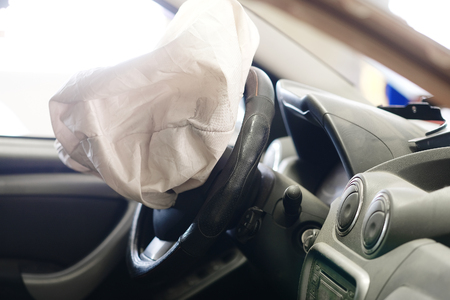 Airbag exploded at a car accident Editorial