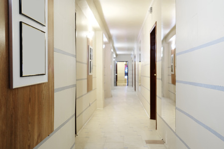 corridors: Interior of a corridor in an office center, hospital or something like this