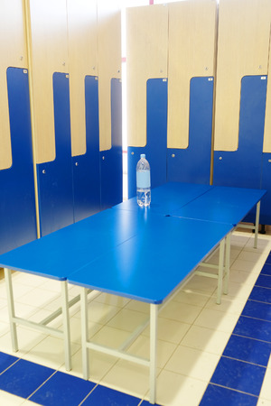 checkroom: Interior of a locker room in fitness club