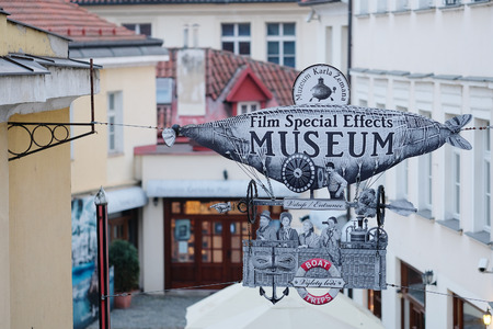 shopsign: Prague, Czechia - November, 21, 2016: museum signboard in Prague, Czechia