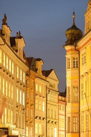 Prague, Czechia - November, 21, 2016: building in a center of Prague, Czechia in a night
