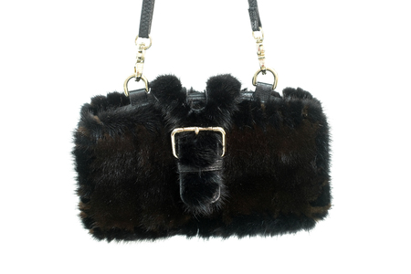 Black fur bag isolated Stock Photo