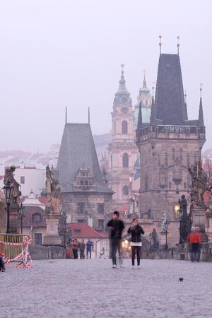 Prague, Czech - November, 24, 2017: People on Charles Bridge in Prague Editorial