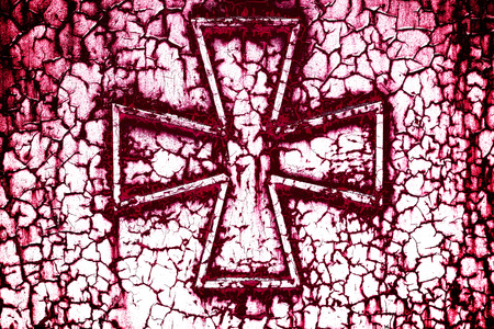 pitting: Cross on a rust metall background