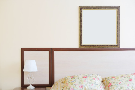 coverlet: Interior of a hotel bedroom Stock Photo