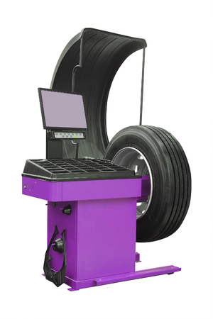 pneumatic tyres: The image of a wheel on a tire machine
