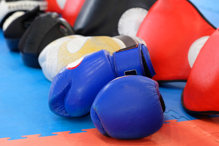 Boxing gloves and other boxing equipment close up Stock Photo