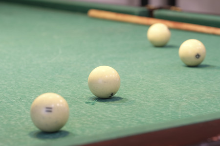 snooker rooms: The image of billiard balls on a table Stock Photo