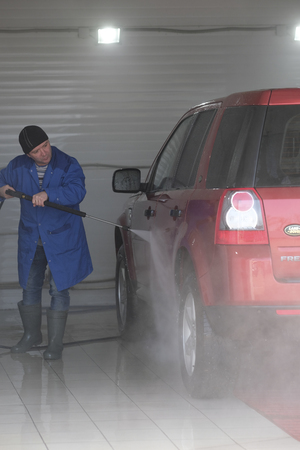 cleaning service: Kaluga, Russia - March, 16, 2017: Car in a car washing station in Kaluga