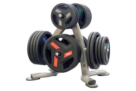 Weights in a fitness hall Stock Photo