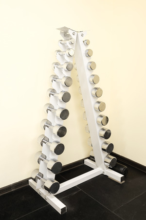 Fitness hall with weights and other sport equipment Stock Photo