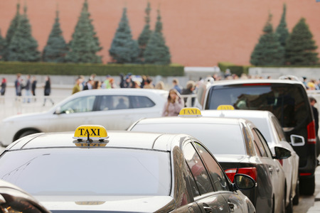 The image of taxi cars