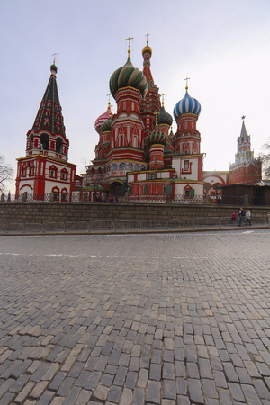 Moscow, Russia - March, 26, 2017: Pokrovsky cathedral on Red Square in Moscow Editorial