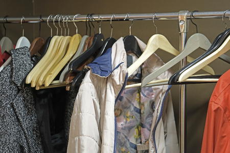 cloakroom: clothes in a cloakroom