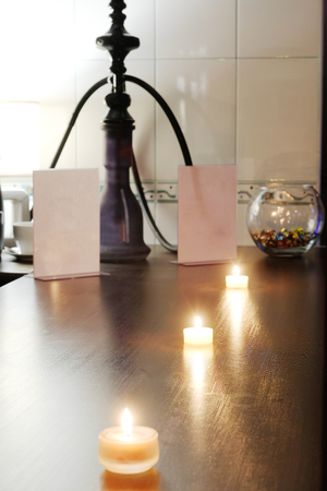 Candle on a table