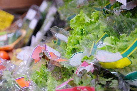 Salad on a shelf in a shop