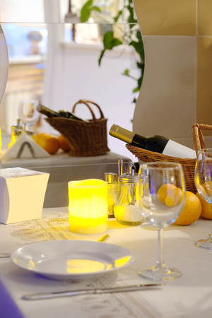 beeswax candle: Candle on a served table