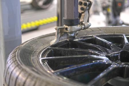 Tyre fitting equipment Stock Photo