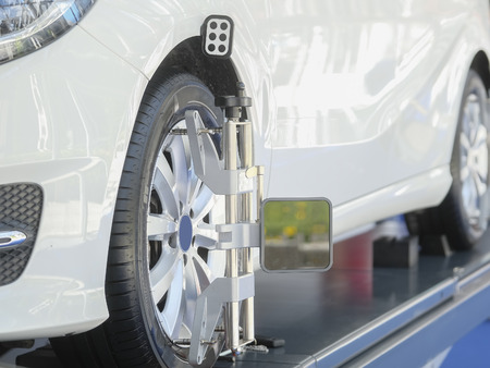 Target of the car wheel angle adjustment equipment fixed on a car wheel Stok Fotoğraf