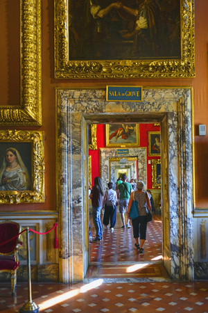 Florence, Italy - June, 5, 2017: visitors in Uffizi gallery in Florence, Italy Redakční