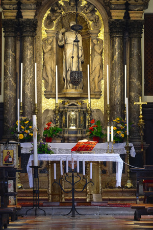 Bologna, Italy - May, 28, 2017: interior of Catholic cathedral in Bologna, Italy