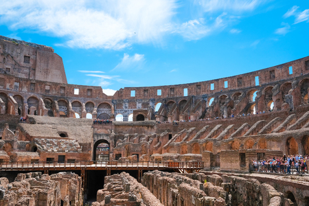 Roma, Italy - July, 2, 2017: interior of Colosseum, ancient Roman amphitheater, one of the main sights of Rome Editorial
