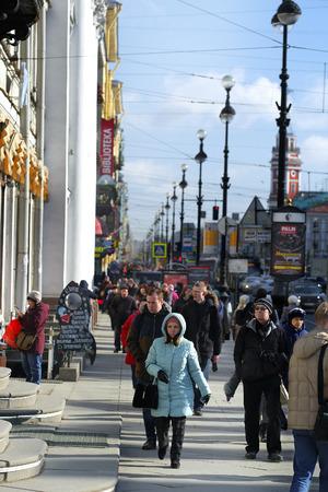 Nevsky Prospekt, Saint Petersburg, Russia - March, 7. 2017: Croud on Nevsky Prospect in a center of St. Petersburg, Russia