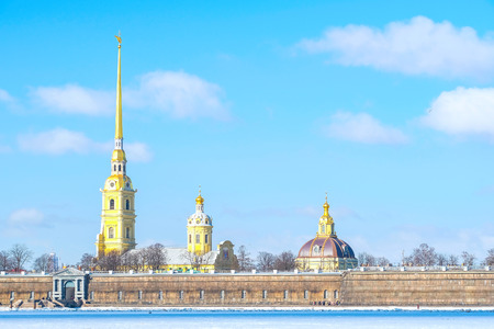St. Petersburg, Russia - March, 7, 2017: View of Peter and Paul cathedral in St. Petersburg, Russia from ice of the frozen Neva River