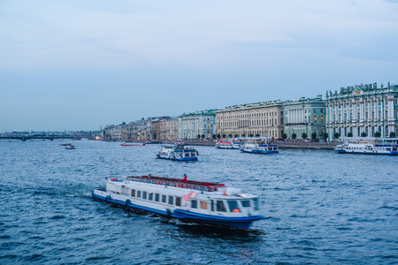 St. Petersburg, Russia - August, 19, 2017: Dvortsovaya embankment in St. Petersburg, Russia, Veiw from the side of Neva river Editorial