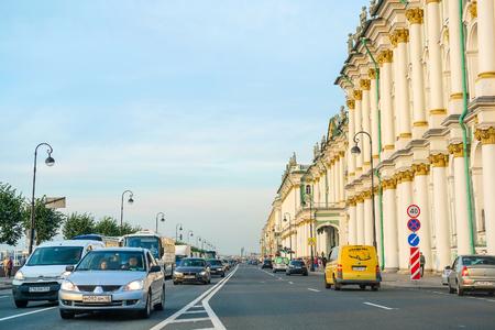 St. Petersburg, Russia - August, 19, 2017: traffic on Dvortsovaya embankment in St. Petersburg, Russia Editorial