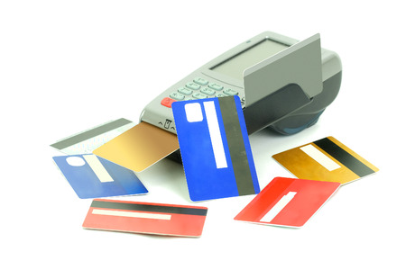withdrawal: Credit cards reader Stock Photo