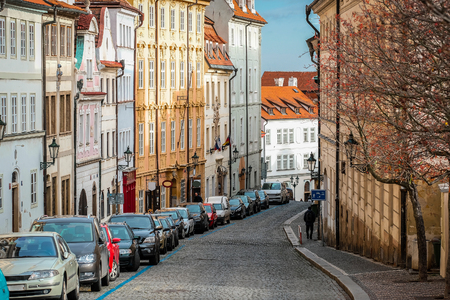 Prague, Czechia - November, 20, 2017: cars on a street parking in the Old town of Prague, Czechia Editorial