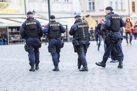 Prague, Czechia - November, 20, 2017: policemen in an Old town of Prague, Czechia