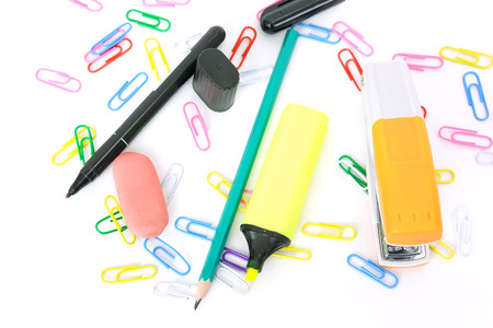 Stationaries on a table Stock Photo