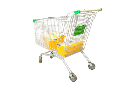 shop trolley in the car components shop Stock Photo