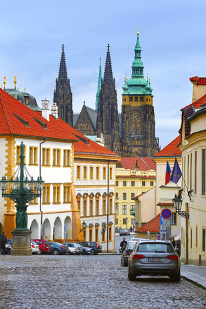 Prague, Czechia - November, 23, 2017: street in a center of Prague with view to St Vita Cathedral in Prague Editorial