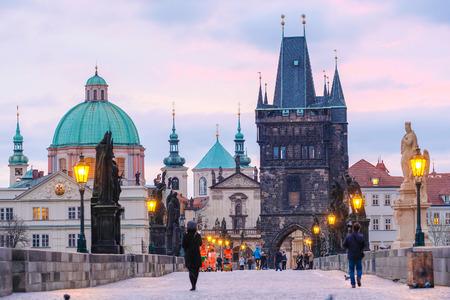 Prague, Czech Republic - November, 23, 2017: night view to the Charles bridge in the center of Prague