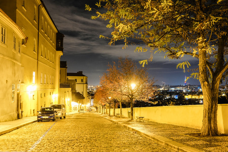 Prague, Czechia - November, 23, 2017: street in a center of Prague at night