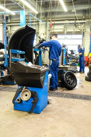 Klimovsk, Moscow region, Russia - November, 17, 2017: Tyre repair working shop Editöryel