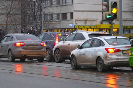 Moscow, Russia - December, 17, 2017: cars stand on traffic light in Moscow