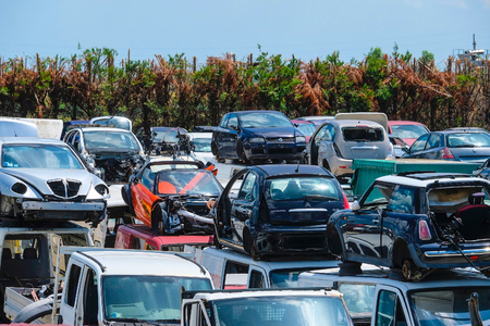 Italy, Veneto - July, 26, 2017: cars on a wrecking yard in Italy