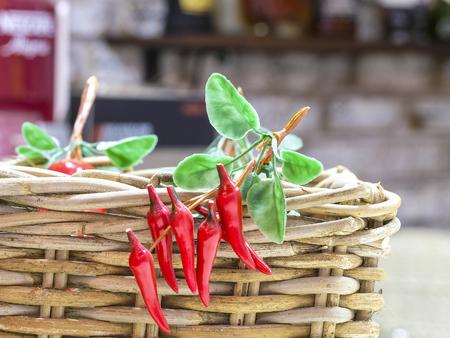 Red pepper in a basket