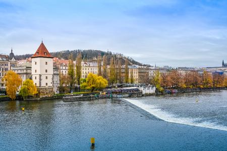 Prague, Czechia - November, 23, 2017: veiw of Prague with Vltava river