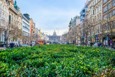 Prague, Chech republic - November, 17, 2017: district in a center of Prague Editoriali