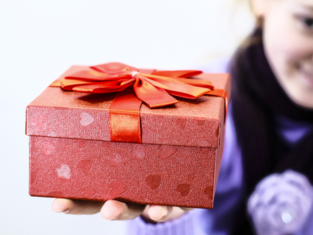 Present box on a girl 's hand Banco de Imagens